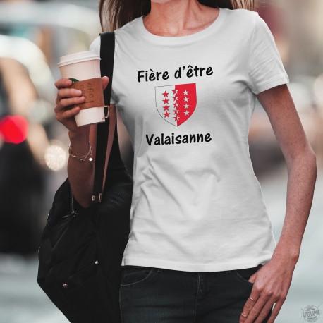Fière d'être Valaisanne ★ T-Shirt mode dame - écusson du canton du Valais avec les treize étoiles pour les treize districts