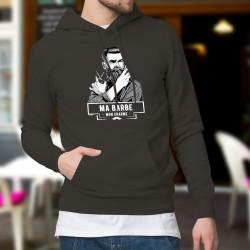 Ma barbe, mon Charme ★ Hipster ★ Pull à capuche coton homme hipster à la barbe soignée tenant ciseau et ancienne lame de rasoir