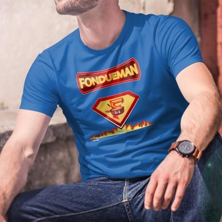 Fondueman ★ comics super héros ★ T-Shirt coton homme les super-pouvoirs de la fondue au fromage