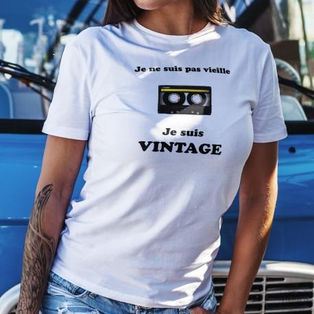 Vintage Cassette audio ⏪ Je ne suis pas vieille, je suis Vintage ⏩ T-Shirt décontracté dame, cassette audio à bande magnétique