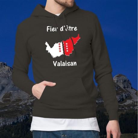 Fier d'être valaisan ★ Pull à capuche coton homme - Frontières aux couleurs du canton du Valais