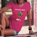 Génération quatre-vingt ★ Rubik's Cube ★ T-Shirt coton dame