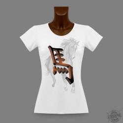 Frauen Slim T-shirt - Zeichen des Pferdes in 3D, Africa