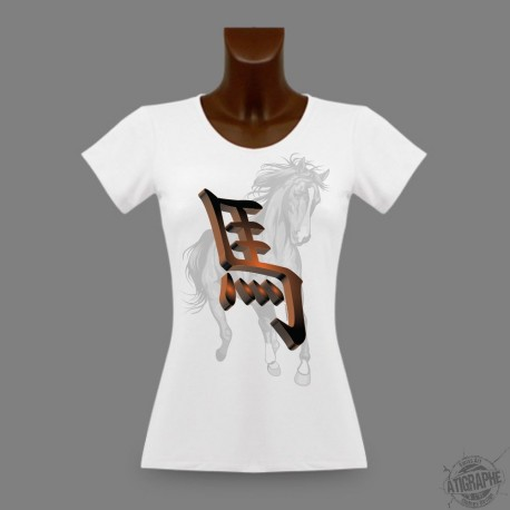 Women's Slim T-Shirt - Chinese sign of the horse, Africa