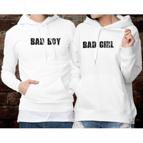 BAD GIRL ★ BAD BOY ★ Pulls à capuche DuoPack ★ vilaine fille ★ respectivement ★ mauvais garçon ★