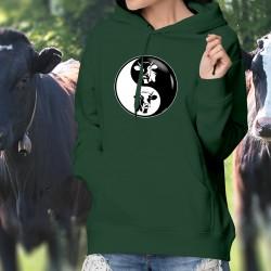 Testa di Mucca ☯ Yin-Yang ☯ Donna Maglione di cotone con cappuccio