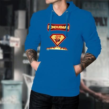 Fondueman ★ comics super héros ★ Pull à capuche coton homme avec les super-pouvoirs de la fondue
