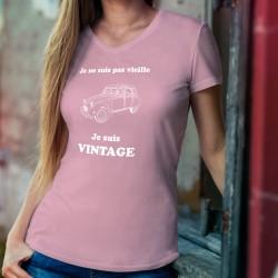 Donna cotone T-Shirt ❋ Vintage Deuche ✿ Je ne suis pas vieille ✿