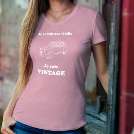 Vintage Deuche ✿ Je ne suis pas vieille, je suis Vintage ✿ T-Shirt coton dame 2 Chevaux