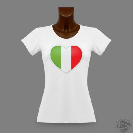 T-Shirt dame moulant - Coeur italien