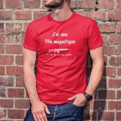 J'ai une fille magnifique, un Fass 90, une pelle, un alibi... ★ T-Shirt coton humoristique homme fusil d'assaut 90 armée suisse
