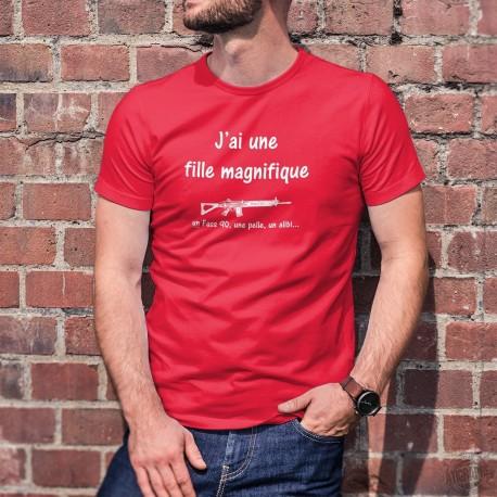 Men's cotton T-Shirt - J'ai une fille magnifique, un Fass 90... ★