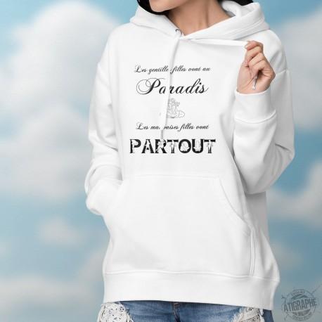 Les gentilles filles vont au Paradis, les mauvaises filles vont partout ★ Pull blanc à capuche dame ange et silhouettes féminine