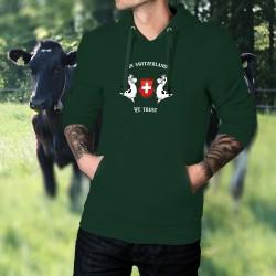 In Switzerland We Trust ✚ Nous avons confiance en la Suisse ✚ Pull à capuche coton homme, Vaches Holstein, écusson Suisse