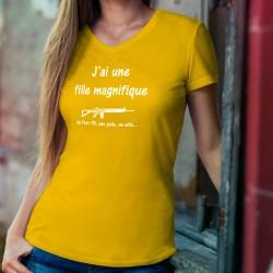 Women's cotton T-Shirt - J'ai une fille magnifique, un Fass 90... ★