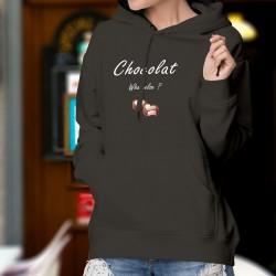 Chocolat, What else ? ❤ deux coeurs en choco, quoi d'autre ? ❤ Pull à capuche coton dame inspiré de George Clooney