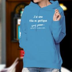 Maglione di cotone con cappuccio - J'ai une fille magnifique, un Fass 90... ★