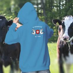 In Switzerland We Trust ✚ Nous avons confiance en la Suisse ✚ Pull à capuche coton dame, 2 Vaches Holstein  et l'écusson Suisse