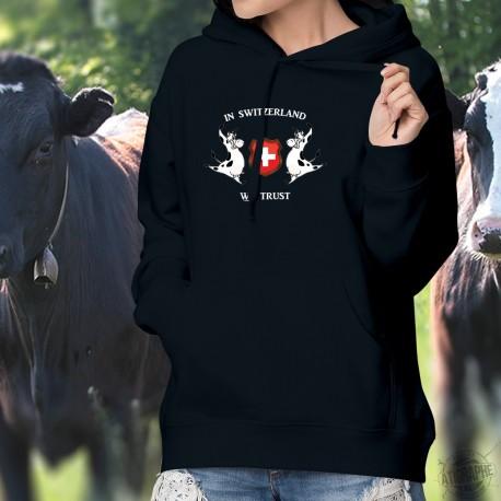 In Switzerland We Trust ✚ Holstein mucche ✚ Maglione di cotone con cappuccio