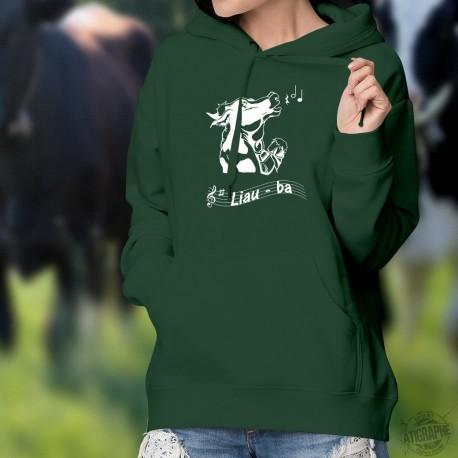 Liauba ★ Le Ranz des vaches ★ Pull à capuche coton dame - tête de vache Holstein en train de chanter