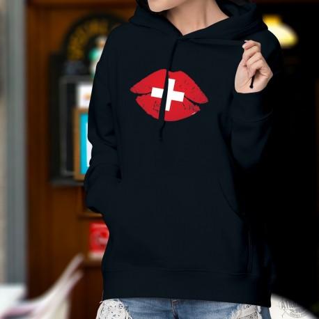 Bisou suisse ❤ croix suisse ❤ Pull à capuche coton dame, lèvres pulpeuses aux couleurs de la Suisse