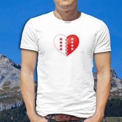 Coeur valaisan ★ T-Shirt homme drapeau du canton du Valais avec les treize étoiles pour les treize districts
