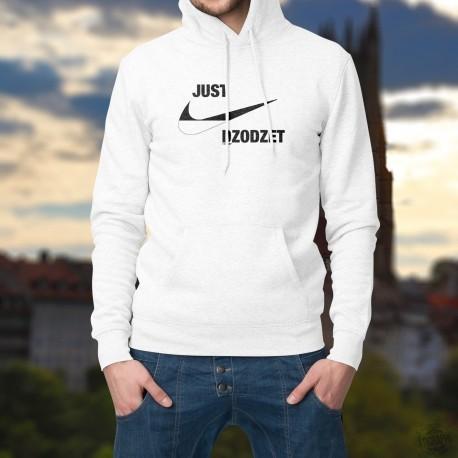 Just dzodzet ★ Just do it ★ Pull à capuche homme aux couleurs fribourgeoises inspirée d'une célèbre marque de vêtements de sport