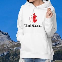 Think Valaisan ★ pomme valaisanne ★ Pull à capuche mode dame inspirée de la célèbre marque d'ordinateurs et de smartphones