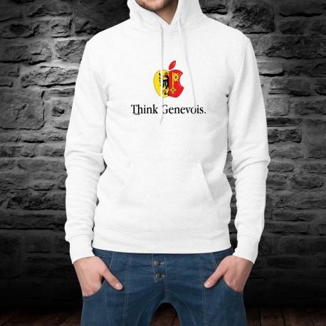 Think Genevois ★ pense genevois ★ Pull à capuche homme pomme croquée et phrase inspirée de la célèbre marque de smartphones