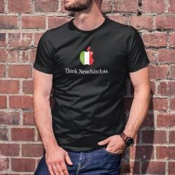 Think Neuchâtelois ★ pense Neuchâtelois ★ T-Shirt coton homme avec l'écusson de Neuchâtel en forme de pomme