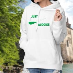 Just vaudoise ★ Just do it ★ Pull à capuche dame aux couleurs vaudoises et inspirée d'une célèbre marque de vêtements de sport