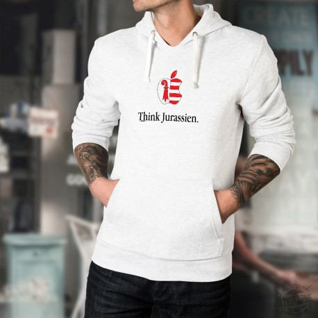 Think Jurassien ★ pense Jurassien ★ Pull à capuche homme inspiré de la célèbre marque de smartphones