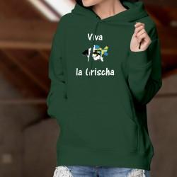 Viva la Grischa ★ Vive les Grisons ★ Pull à capuche coton dame, frontières aux couleurs grisonnaises et phrase romanche