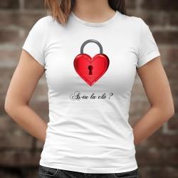 As-tu la clé ? ❤ Coeur cadenas ❤ T-Shirt mode dame afin de trouver la bonne clé qui permettra d'ouvrir le coeur