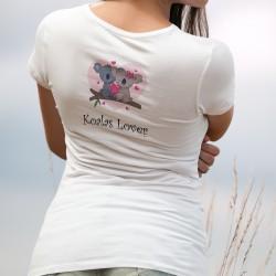 Koalas Lover ❤ Amoureuse des Koalas ❤ T-Shirt mode dame avec un couple de Koalas amoureux. Don de 6CHF au WWF pour l'Australie
