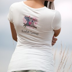 Koalas Lover ❤ Women's fashion T-Shirt with a couple of Koalas in love. donation of 6 CHF to WWF for Australia