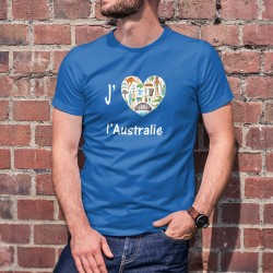 J'aime l'Australie ❤ T-shirt coton, coeur avec Kangourou, koala, boomerang, aborigène,... Don de 6CHF au WWF pour l'Australie