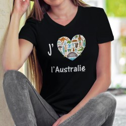 J'aime l'Australie ❤ T-Shirt coton dame pour l'Australie, avec Kangourou, koala, boomerang, aborigène,... Don de 6CHF au WWF