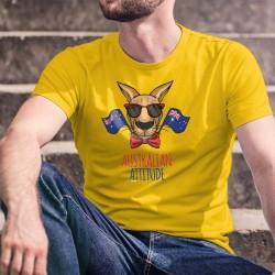 Australian Attitude ★ T-shirt coton homme pour l'Australie avec un kangourou portant lunettes de soleil et noeud papillon