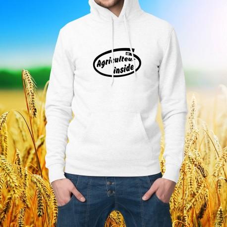 Sweat bianco a cappuccio - Agriculteur inside