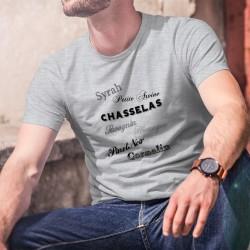 Cépages suisses ★ T-Shirt humoristique homme avec ★ Syrah, Humagne, Savagnin, Pinot Noir, Chasselas, Petite Arvine, Cornalin ★