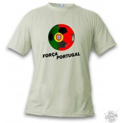 Women's or Men's Soccer T-Shirt - Força Portugal, November White