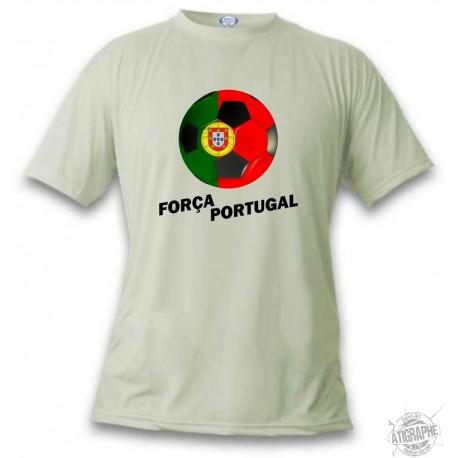 Women's or Men's Soccer T-Shirt - Força Portugal, November White