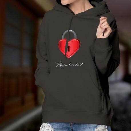 As-tu la clé ? ❤ Coeur cadenas ❤ Pull à capuche coton dame Pour toutes celles qui cherchent la bonne personne, la bonne clé