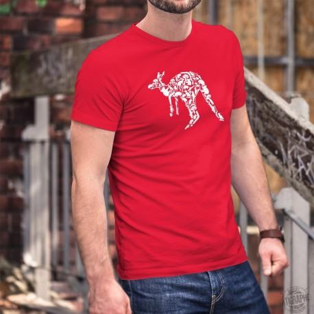 Kangourou Patchwork ★ T-shirt coton homme animaux et objets typiques australiens formant la silhouette d'un kangourou