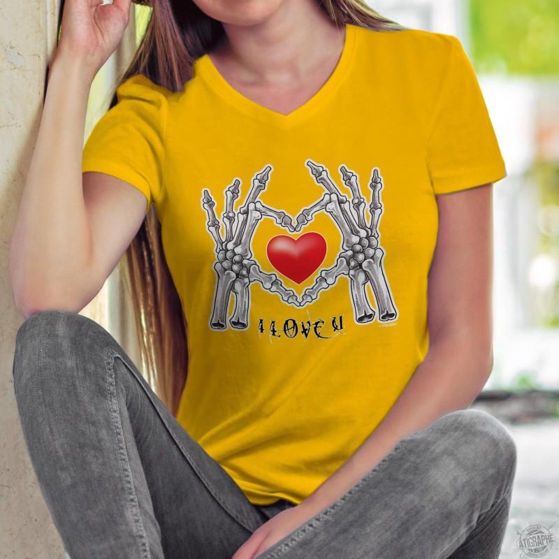 I Love U Ich liebe dich Frauenmode Baumwolle T-Shirt Hände