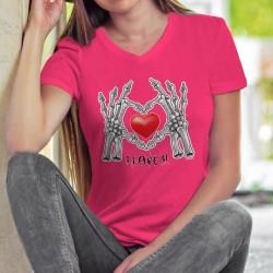 I Love U ❤ Je t'aime ❤ T-shirt humoristique coton dame avec le squelette de deux mains formant un coeur