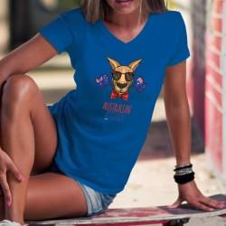 Australian Attitude ❤ T-Shirt coton avec le drapeau australien, un kangourou portant lunettes de soleil et noeud papillon