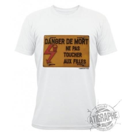 """T-Shirt blanc unisex """"Ne pas toucher aux filles"""""""