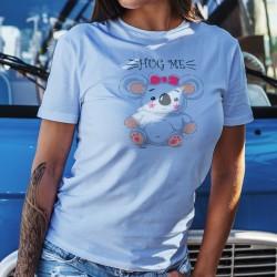 HUG ME ❤ Fais moi un câlin Koala ❤ T-Shirt décontracté dame, don de 6CHF au WWF pour l'Australie